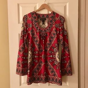 INC Red & Black Tunic, Sz M. Perfect for holidays